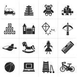 Diferente tipo negro de iconos de los juguetes libre illustration