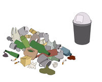 Diferentes tipos de compartimiento de la basura y de los desperdicios stock de ilustración
