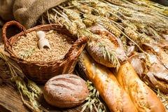 Diferentes tipos de grano y de productos recientemente cocidos de la panadería foto de archivo