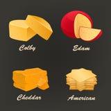 Diferentes tipos de icono amarillo del queso Ilustración del vector Fotografía de archivo libre de regalías
