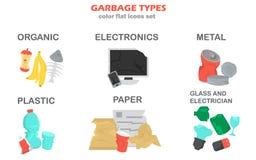 Diferentes tipos de iconos del color de la basura fijados ilustración del vector