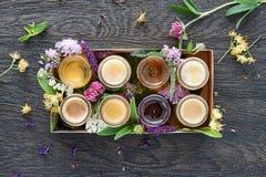 Diferentes tipos de miel en una caja Imágenes de archivo libres de regalías