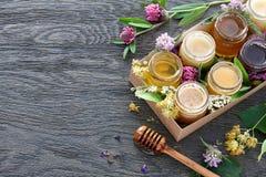 Diferentes tipos de miel en una caja Imagen de archivo