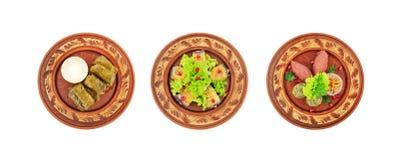 Diferentes tipos de platos de la cocina caucásica Foto de archivo