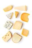 Diferentes tipos de quesos foto de archivo