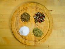 Difernt kryddor, peppar, salt, oreganon och spiskummin Arkivbilder