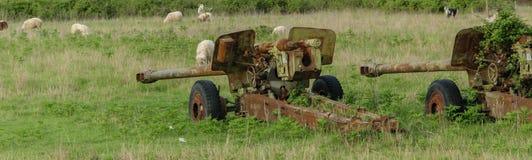 Difesa contraerea dell'contro-aria o di guerra, abbandonata Relitti di vecchi veicoli che appartengono all'esercito albanese nel  immagini stock libere da diritti