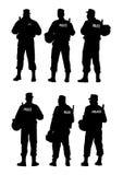 Difesa della barriera della polizia Immagine Stock