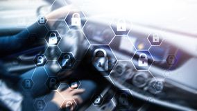 Difesa di segretezza di informazioni, di Cybersecurity, di protezione dei dati, del virus e di spyware illustrazione vettoriale