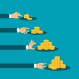 Différence dans le concept de vecteur de revenu avec des piles de pièces de monnaie d'or illustration de vecteur