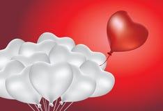 Différence de ballon de forme de coeur de groupe Images libres de droits