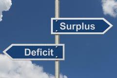 Différence entre un excédent et un déficit Images libres de droits