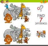 Différences de découverte avec des caractères d'animaux de safari illustration libre de droits