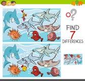 Différences de découverte avec des caractères de vie marine de poissons illustration stock