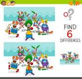 Différences de découverte avec les caractères drôles de clown Photo stock