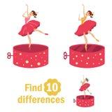 Différences de la trouvaille 10 Danseur dans la boîte à musique illustration libre de droits