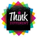 différent pensez Concept créatif de signe de typographie de vecteur de brosse illustration stock