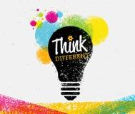 différent pensez Concept créatif de signe de typographie de vecteur de brosse illustration libre de droits