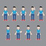 Différentes émotions de jeune homme infographic Image stock