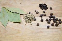Différentes épices sur un conseil en bois photographie stock