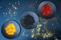 Différentes épices sur un Tableau Photo libre de droits