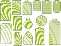 Différentes étiquettes vertes Photographie stock libre de droits