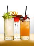 Différentes boissons sur des verres avec des fruits et des feuilles Photographie stock libre de droits