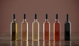 Différentes bouteilles de vin sans labels Images stock