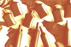 Différentes bouteilles de vodka de vin couvertes de peinture acrylique blanche photographie stock libre de droits