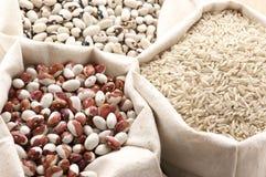 Différentes céréales dans les sacs Image stock