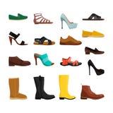 Différentes chaussures de sport des hommes et des femmes Photos de vecteur réglées illustration de vecteur