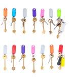 Différentes clés avec des étiquettes présentées dans une rangée Images stock