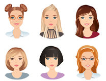 Différentes coiffures, femelle, pour la fille, jeune adulte, femme, ensemble 5 Photos stock