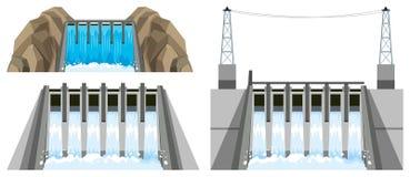 Différentes conceptions de barrage illustration de vecteur