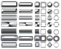 Différentes couleurs des boutons et des icônes argentés pour le web design Photos libres de droits