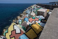Différentes couleurs en cubes pour le port Photo libre de droits
