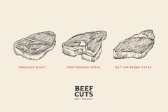 Différentes coupes de viande réglées : épaulez le rôti, bifteck de porterhouse, bifteck rond inférieur illustration de vecteur