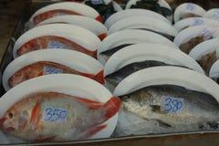 Différentes espèces de poisson frais à vendre avec le prix sur le marché de plage Images stock