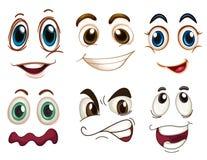 Différentes expressions faciales Photos stock