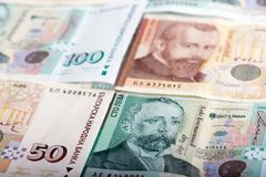 Différentes factures bulgares pour des depts d'investissement ou de payng Image stock