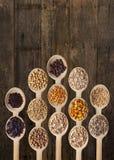 Différentes graines sur les cuillères en bois Photo libre de droits