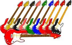Différentes guitares électriques dans différentes couleurs Photos libres de droits