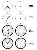 Différentes horloges des styles sur le fond blanc illustration stock