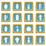 Différentes icônes de cactus azurées Image stock