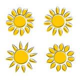 Différentes icônes de Sun sur l'illustration blanche de vecteur de fond Photos stock