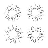 Différentes icônes noires de Sun sur l'illustration blanche de vecteur de fond Images libres de droits