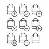 Différentes icônes d'achats réglées avec les coins arrondis Image stock