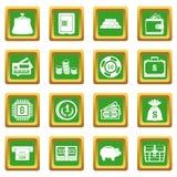 Différentes icônes d'argent réglées vertes Image libre de droits
