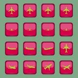 Différentes icônes d'avion sur un bouton rouge Photo stock