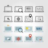Différentes icônes d'ordinateur portable réglées avec les coins arrondis illustration stock